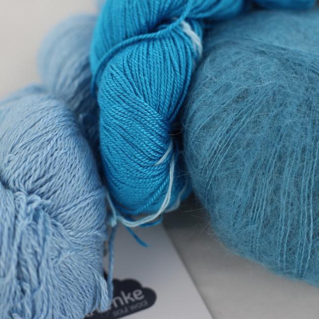 Kremke Soul Wool Garnpaket Tuch Karibikstrand Meerblau mit Türkis