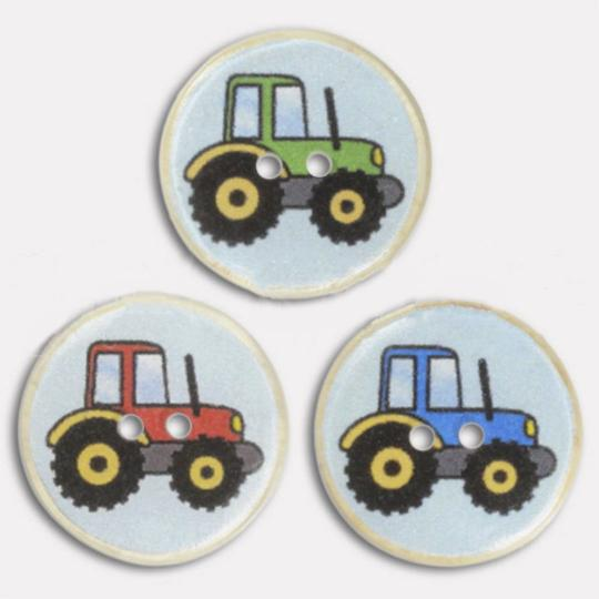 Jim Knopf Resin button with tractor motiv
